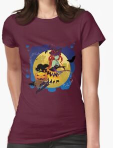 Witch and Full Moon 2 Womens Fitted T-Shirt