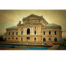 A digital painting of The Cultural Palace in Romania Photographic Print