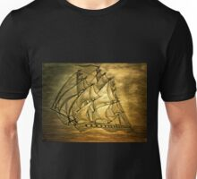 A digital painting of my pencil drawing of a Clipper Ship Unisex T-Shirt