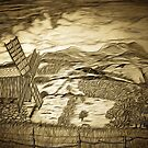 A digital painting of a traditional Romanian windmill by Dennis Melling