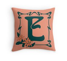 Fancy art nouveau letter E, flower Throw Pillow
