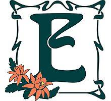 Fancy art nouveau letter E, flower Photographic Print