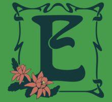 Fancy art nouveau letter E, flower One Piece - Short Sleeve