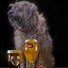 Border Terrier Dog With Beer And Larger, Birthday Card by Moonlake