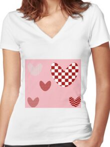 Texture hearts pink Women's Fitted V-Neck T-Shirt
