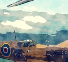 Watercolor and Sketch WW2 Plane Birthday Card For Dad Sticker