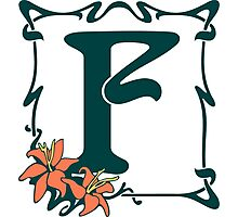 Fancy art nouveau letter F, flower Photographic Print