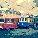Vintage Transport, Trams Red And Blue by Moonlake