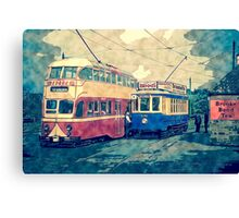 Vintage Transport, Trams Red And Blue Canvas Print