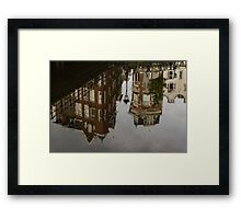 Amsterdam - Moody Canal Reflection in the Rain Framed Print