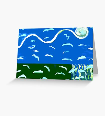 SEAGULLS OVER OCEAN Greeting Card