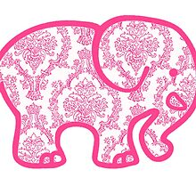 pink damask Elephant by Emily Grimaldi