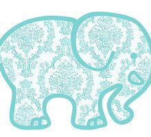 light blue damask elephant by Emily Grimaldi