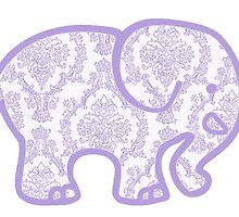 lavender damask elephant by Emily Grimaldi