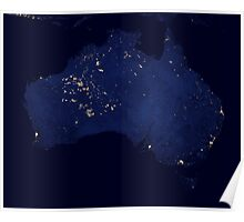 Satellite view showing the night lights of Australia. Poster