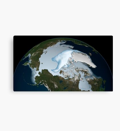 Planet Earth showing sea ice coverage in 2012. Canvas Print