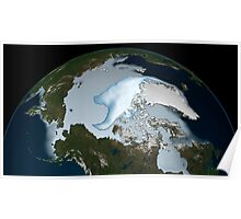 Planet Earth showing sea ice coverage in 2012. Poster