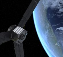 Artist's concept of NASA's Juno spacecraft during its Earth flyby gravity assist. Sticker