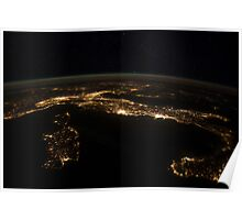 Nighttime panorama showing city lights of Europe. Poster