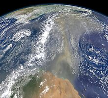 Dust heading west toward South America and the Gulf of Mexico. by StocktrekImages