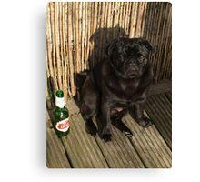 Pug & Beer Canvas Print