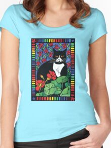 Black and White Cat in the Garden Women's Fitted Scoop T-Shirt