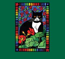 Black and White Cat in the Garden Womens Fitted T-Shirt