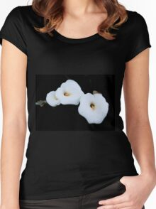 Three Calla Lilies Isolated On A Black Background Women's Fitted Scoop T-Shirt