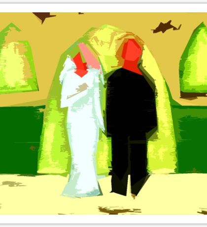 BLUSHING BRIDE AND GROOM 2 Sticker