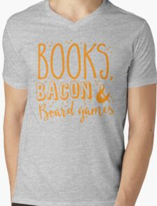 Books, Bacon and board games Mens V-Neck T-Shirt