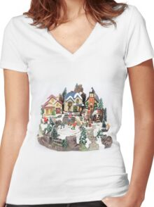 old town winter scene Women's Fitted V-Neck T-Shirt