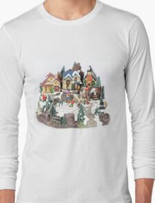 old town winter scene Long Sleeve T-Shirt