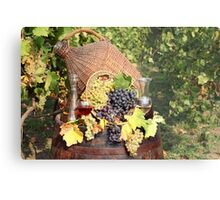 vineyard with grape and wine  Metal Print