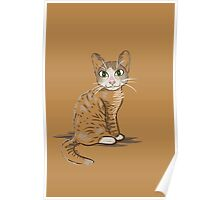 Brown Cat Illustration Poster