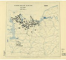 June 18 1944 World War II HQ Twelfth Army Group situation map Photographic Print