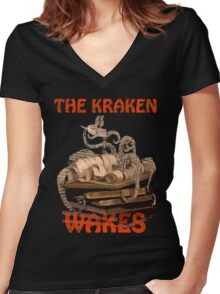 The Kraken Wakes steampunk book art Women's Fitted V-Neck T-Shirt
