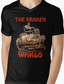 The Kraken Wakes steampunk book art Mens V-Neck T-Shirt