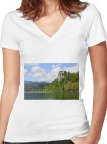 Bled Castle Women's Fitted V-Neck T-Shirt