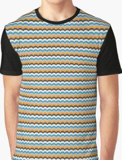 Royal Blue Wave Pattern Graphic T-Shirt