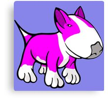 Cute English Bull Terrier Cartoon White & Pink Canvas Print