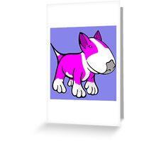 Cute English Bull Terrier Cartoon White & Pink Greeting Card