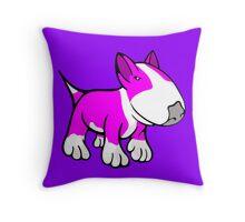 Cute English Bull Terrier Cartoon White & Pink Throw Pillow