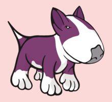 Cute English Bull Terrier Cartoon White & Pink One Piece - Long Sleeve