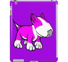 Cute English Bull Terrier Cartoon White & Pink iPad Case/Skin