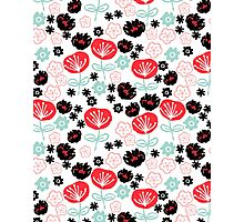 Flowers - red white mint by Andrea Lauren  Photographic Print