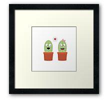 Cacti in love Framed Print