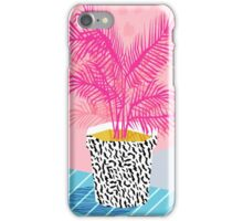No Can Do - potted plant art indoor desert graphic imagery throwback 1980s style memphis neon  iPhone Case/Skin