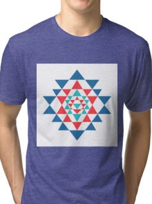 Sacred geometry and alchemy symbol Sri Yantra Tri-blend T-Shirt