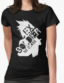Cloud Strife ex-SOLDIER white Womens Fitted T-Shirt