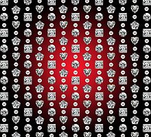 Diamond Mosaic 1 - Digital illustration of original hand rendered precious stones. Red gradient on black background. by ACDigitalArt